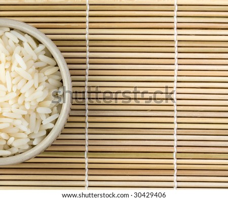 Bowl of rice view from top, space for text - stock photo