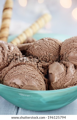 Bowl of rich chocolate ice cream with extreme shallow depth of field. - stock photo