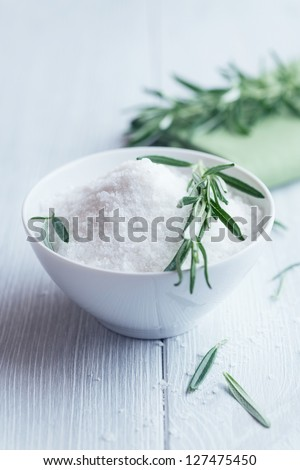 Bowl of sea salt and rosemary