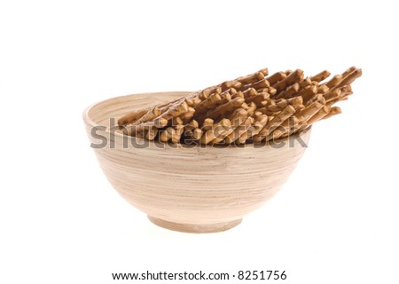bowl of snacks isolated on the white backgound