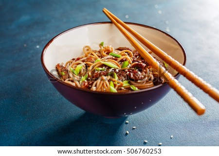 Bowl of soba noodles with beef. Asian food.