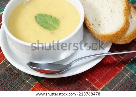 bowl of soup and bread.