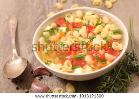 bowl of soup and pasta