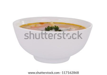 bowl of soup isolated on white background - stock photo