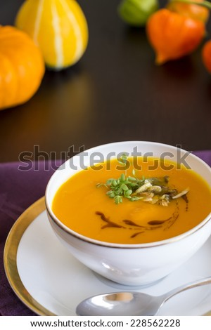 Bowl of Soup with Garnishes as seen from Above - stock photo
