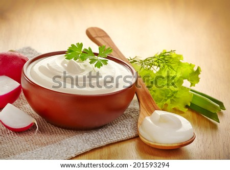 bowl of sour cream with parsley - stock photo