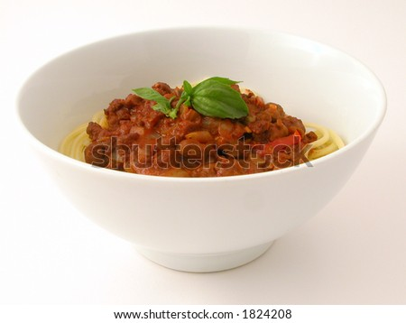 Bowl of Spaghetti Bolognaise... - stock photo