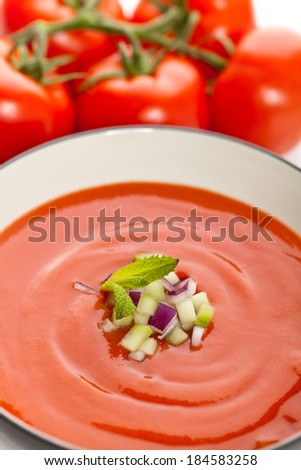 Bowl of tomato soup. Gazpacho. Selective focus. - stock photo