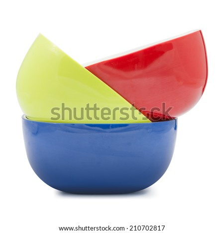 bowl of various color isolated on white background, file includes a excellent clipping path