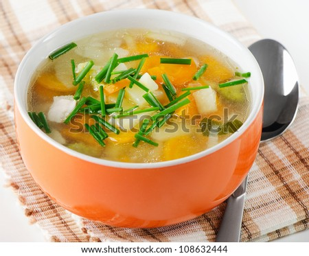 Bowl of vegetable chicken  Soup - stock photo