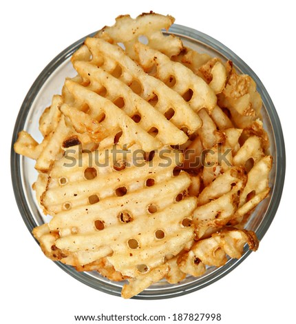 Bowl of Waffle Fries Over White High Angle View - stock photo