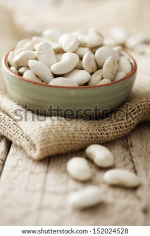 bowl of white giant beans - stock photo