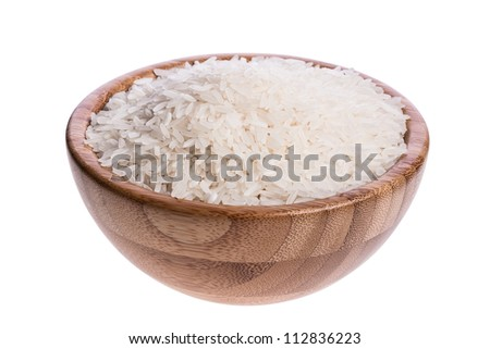 Bowl of White Rice. Isolated on a white background