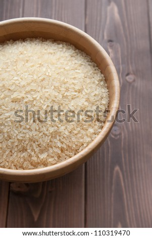 Bowl of white rice on wood table