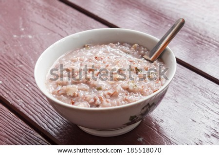 Bowl of wild and brown rice soup - stock photo