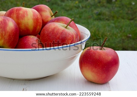 Bowl with apples on white table/fruits/apples