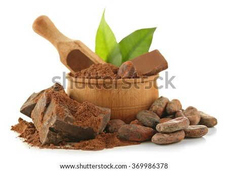 Bowl with aromatic cocoa beans and chocolate isolated on white background, close up - stock photo