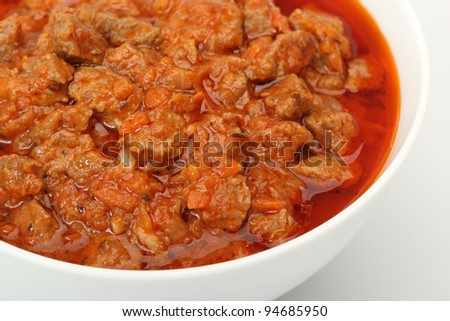 Bowl with Beef Stew, isolated on a white background