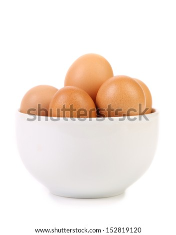 Bowl with brown eggs - stock photo