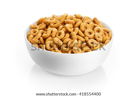 Bowl with corn rings isolated on white background. Cereals. - stock photo