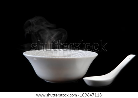 bowl  with delicious mushroom soup. Chinese cuisine