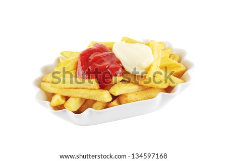 Bowl with french fries topped with mayonnaise and ketchup, isolated on a white background - stock photo