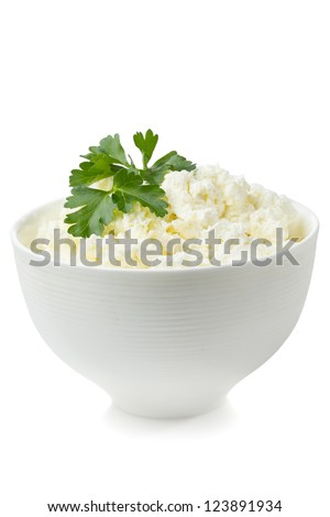 Bowl with fresh cottage cheese - stock photo