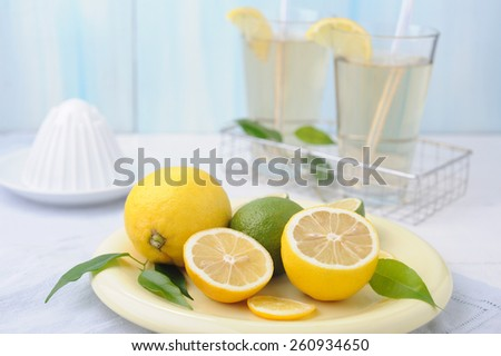 Bowl with fresh lime and lemon and two glass of lemonade on white wooden background - stock photo