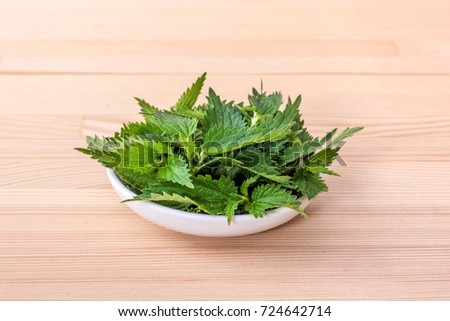 Bowl with fresh nettle leaves / fresh nettle / nettle leaves