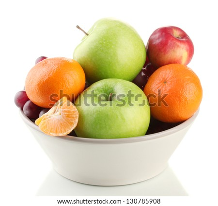 Bowl with fruits, isolated on white - stock photo