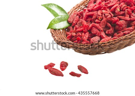 Bowl with Group of Goji berry on the white  - stock photo