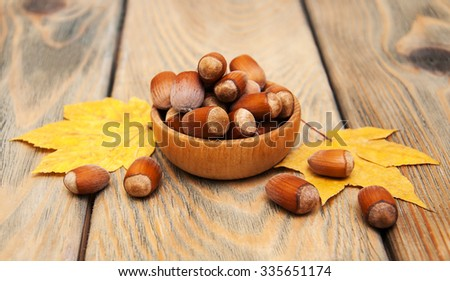Bowl with hazelnuts on a old wooden background