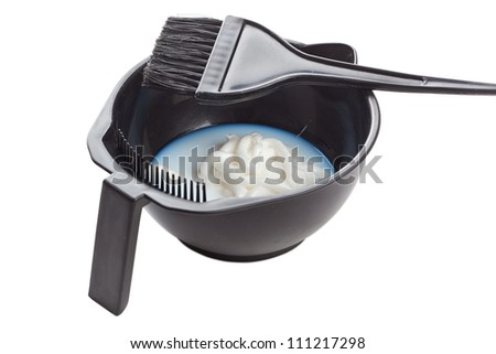 Bowl with peroxide and brush, isolated on white background - stock photo