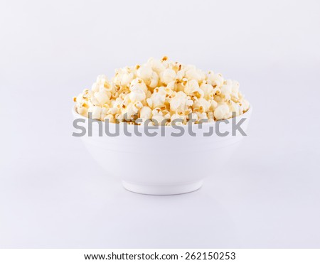 Bowl with popcorn isolated on white background