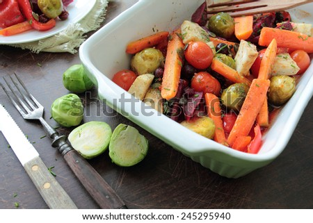 Bowl with roasted vegetables for vegetarian - stock photo