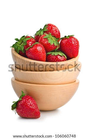 bowl with strawberries isolated on white background - stock photo