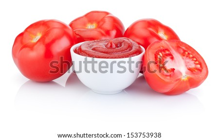 Bowl with tomato sauce and juicy red tomatoes isolated on white background - stock photo
