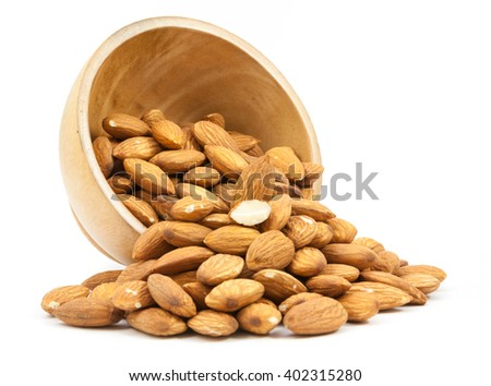 bowl wood of almonds isolated on white background - stock photo