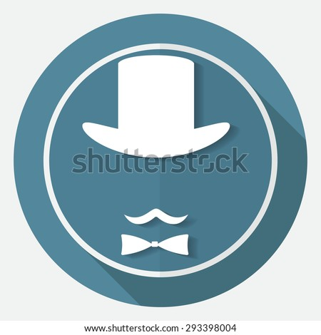 Bowler hat and moustache on white circle with a long shadow - stock photo