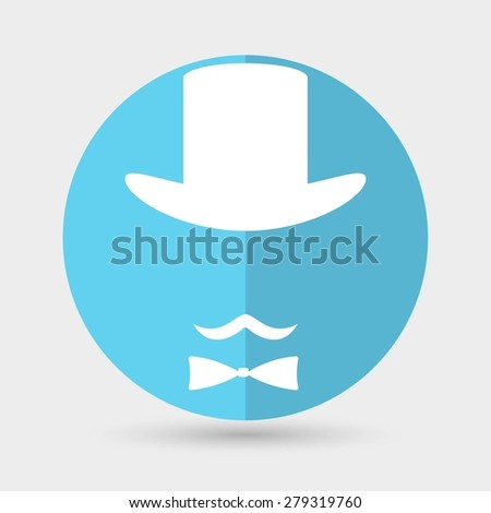 Bowler hat and mustache - stock photo