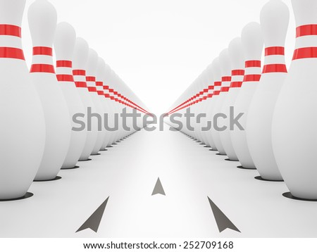 Bowling alley on white background, Clipping path included. - stock photo