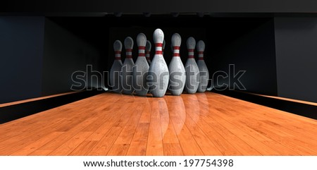 Bowling alley with the pins - stock photo