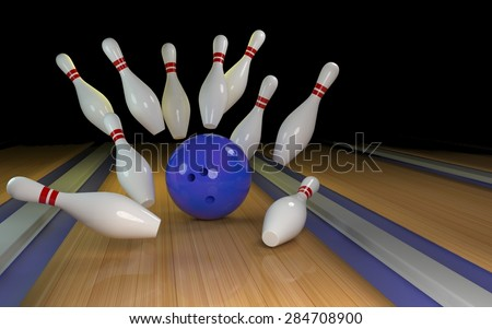 Bowling background with blue ball 3D - stock photo