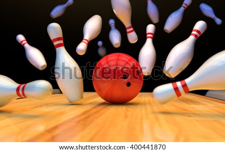 Bowling background with pins and ball. 3D - stock photo