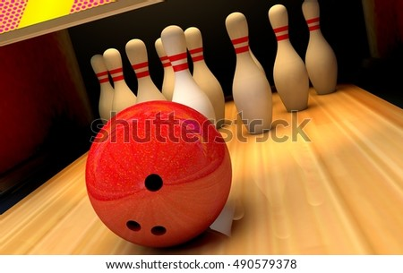 Bowling background with pins and ball. 3D illustration