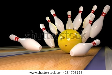 Bowling background with yellow ball 3D - stock photo