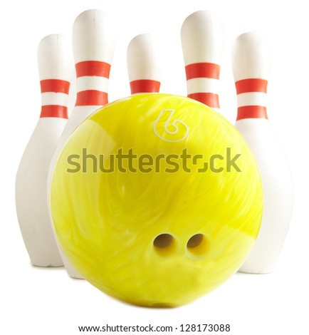 Bowling ball and bowling pin on a white background - stock photo