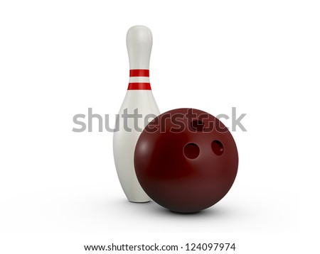 Bowling ball and pin with red stripes, isolated on white background.