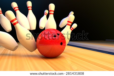 Bowling ball and pins on the track - stock photo
