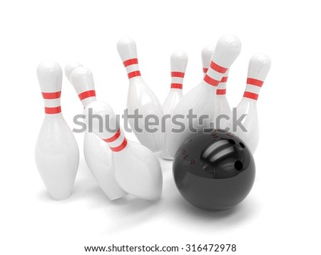 Bowling ball and skittles isolated